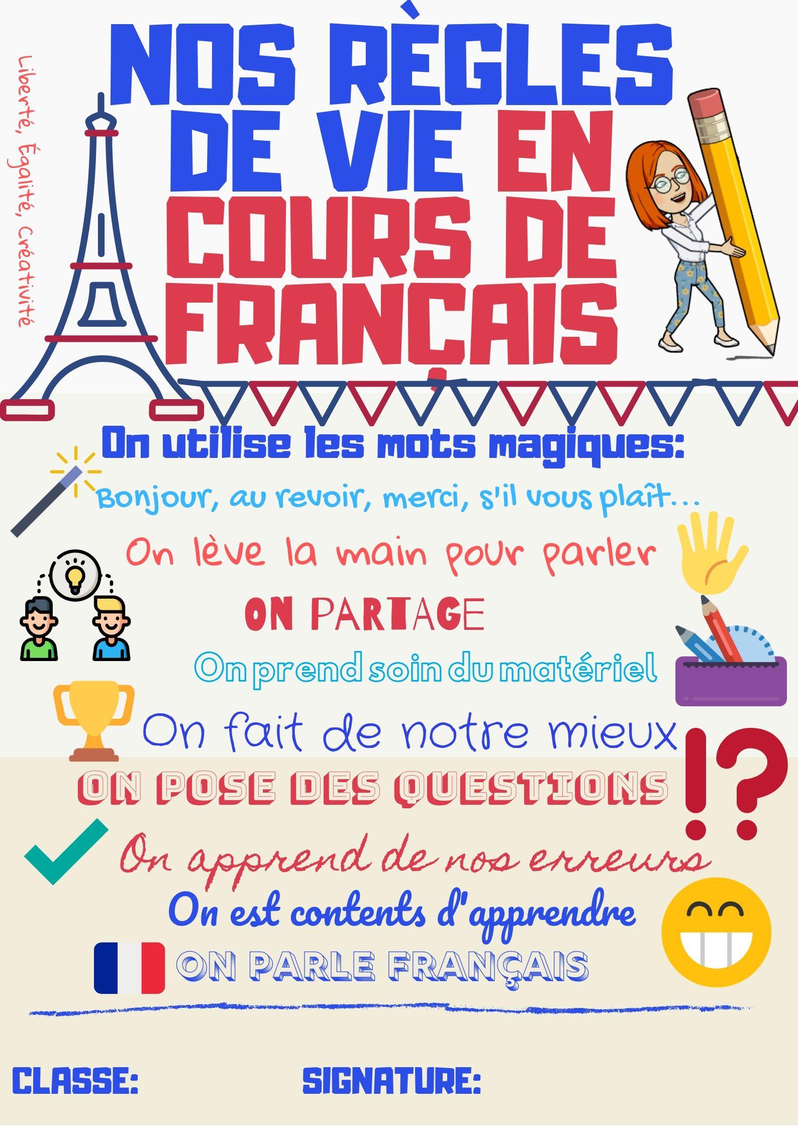 nos règles de vie en cours de français