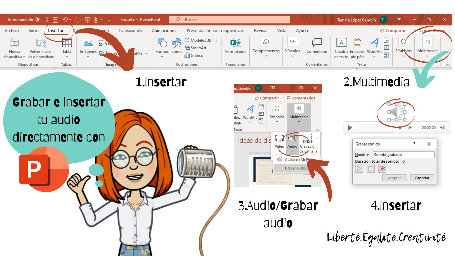¿Cómo grabar e insertar audio directamente con PowerPoint_